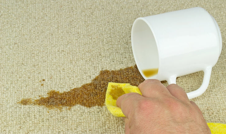 cleaning spill on carpet
