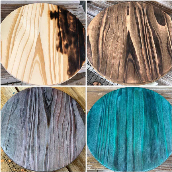 charred wood in different tints and colors
